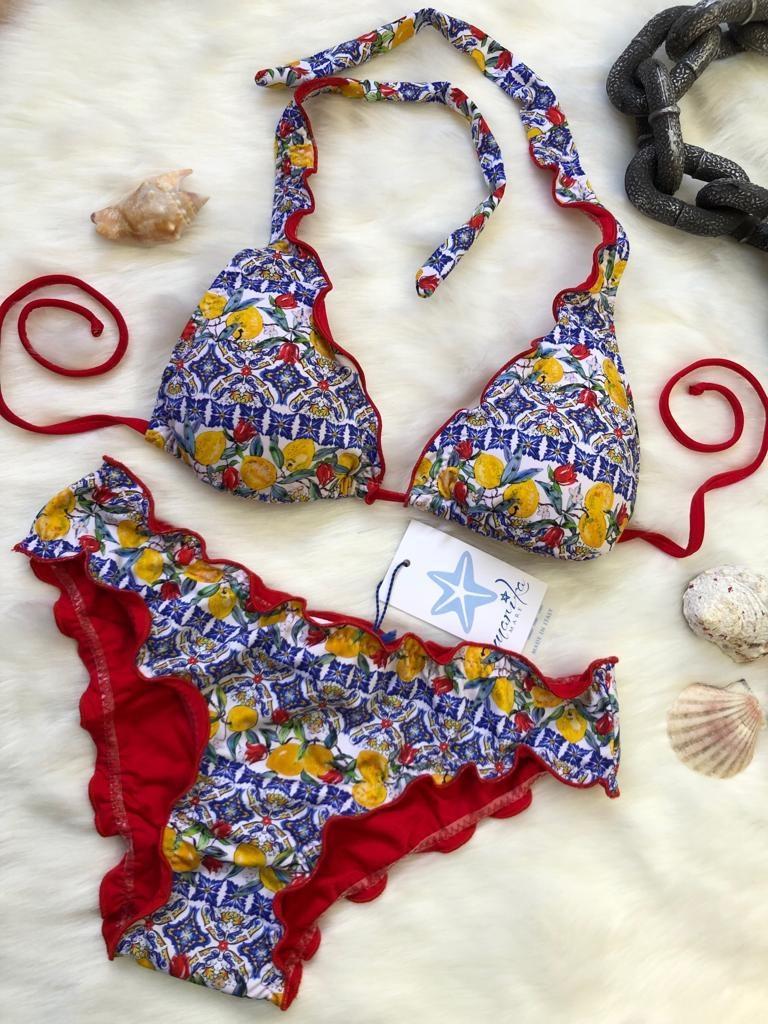 Bikini triangolo limoni