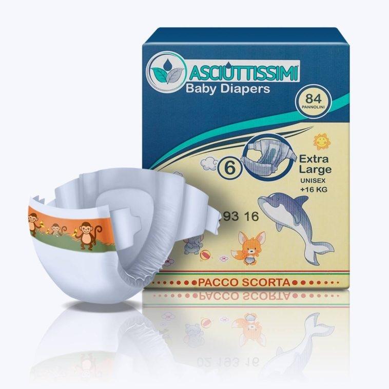 Pannolino Asciuttissimi Baby – tg.6 (16kg+)- pacco scorta (84pz)