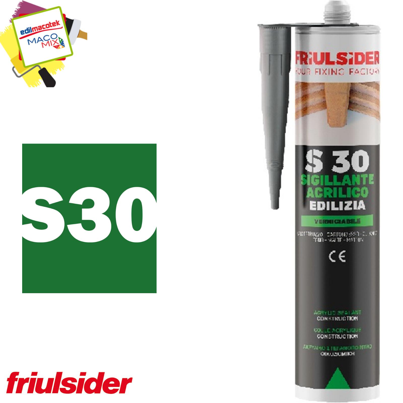Silicone Sigillante Acrilico Per L' Edilizia Friulsider S30 Bianco 310ml Multi Superfici