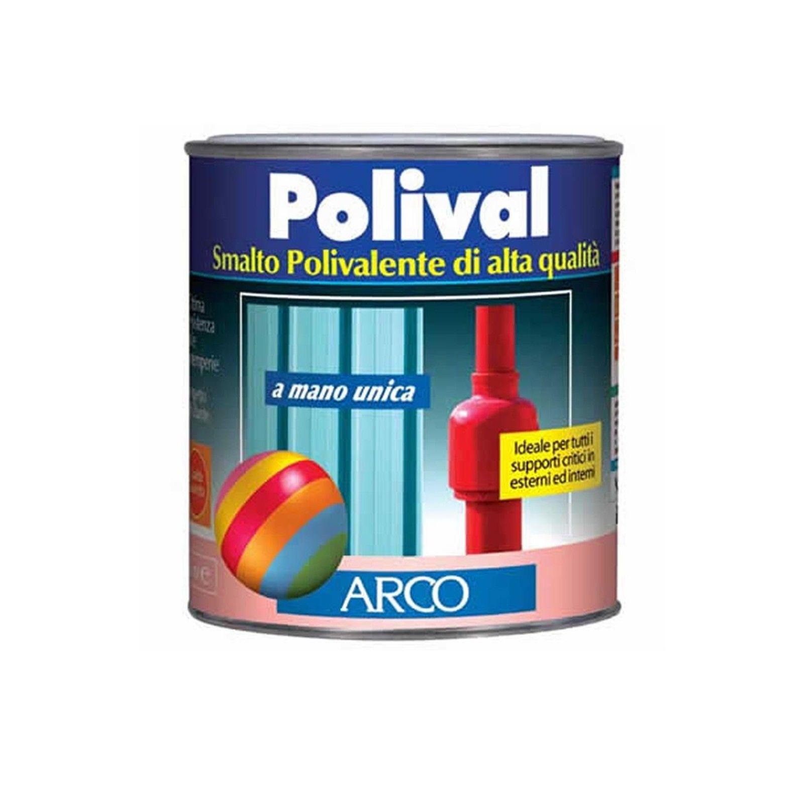 Arco Polival smalto 750ml mano unica per plastica vetro cemento colore bianco alluminio