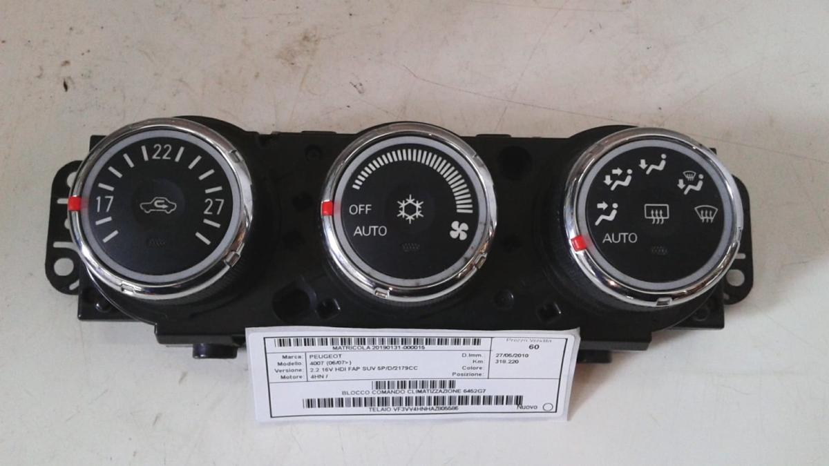 Blocco comando climatizzazione usato originale Peugeot 4007 serie dal 2007