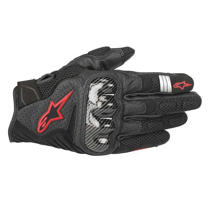 GUANTI MOTO IN PELLE ALPINESTARS SMX-1 AIR V2 BLACK RED FLUO COD. 3570518