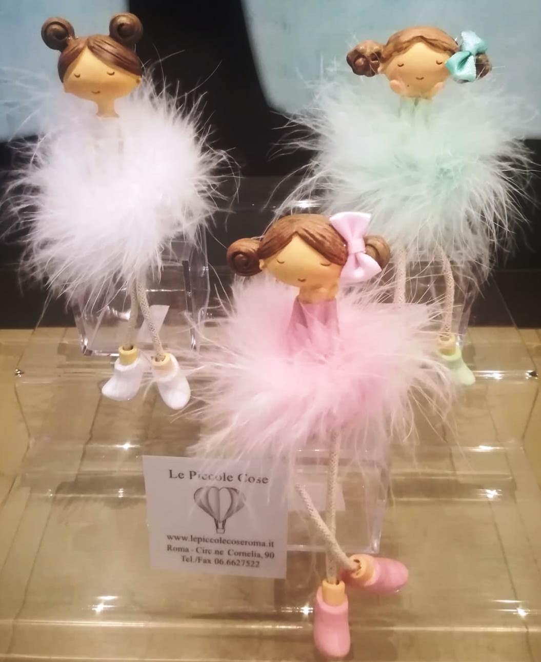 Ballerine colorate, serie da 3 unità. Cofanetto in plexiglass, contenitore di confetti