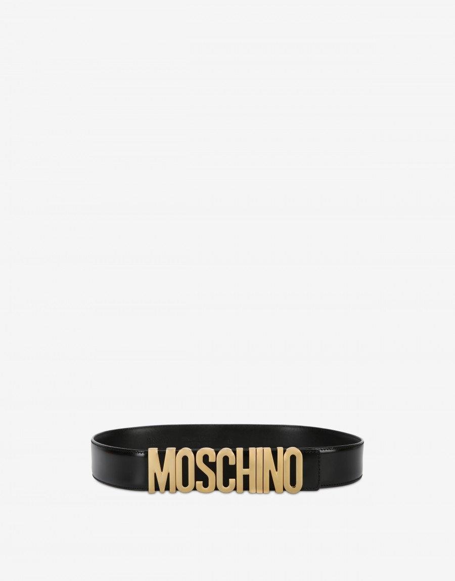 Cintura in pelle con logo MOSCHINO.