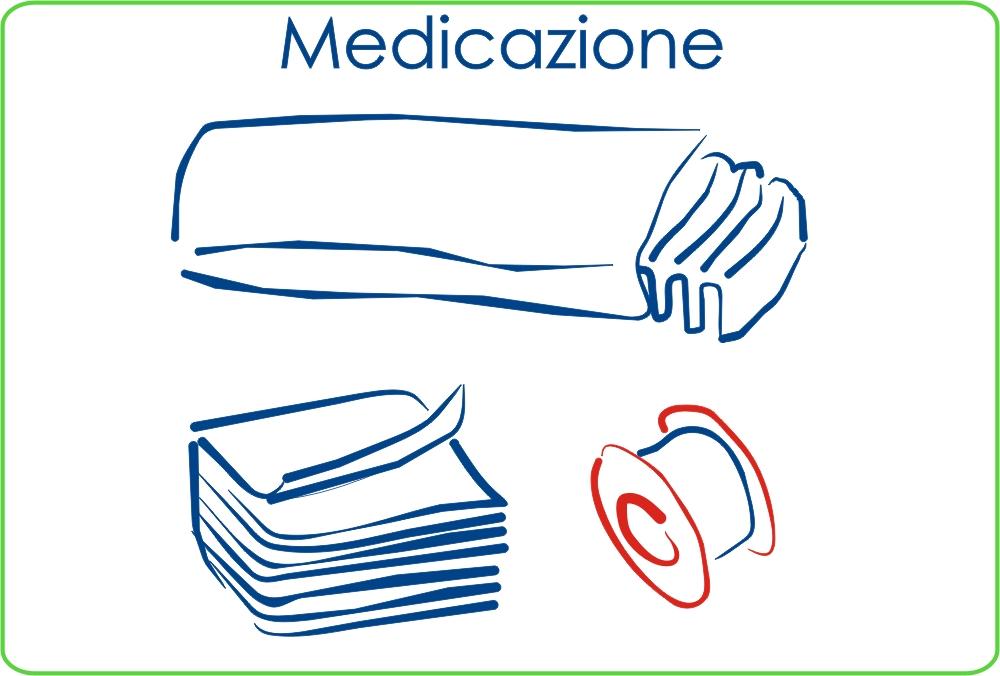 Medicazione: Cerotti, Cotone, Garze sterili, Bacinelle reniformi