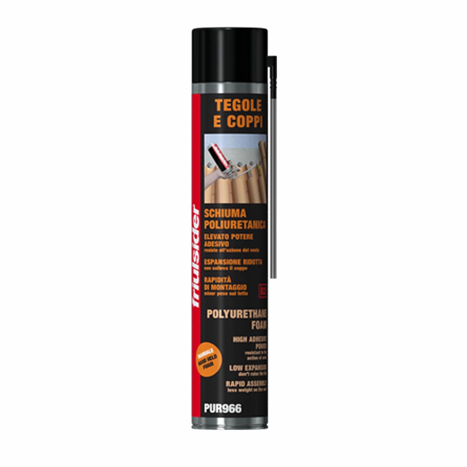 Friulsider schiuma poliuretanica professionale pur966 per tegole e coppi erogazione manuale 750ml