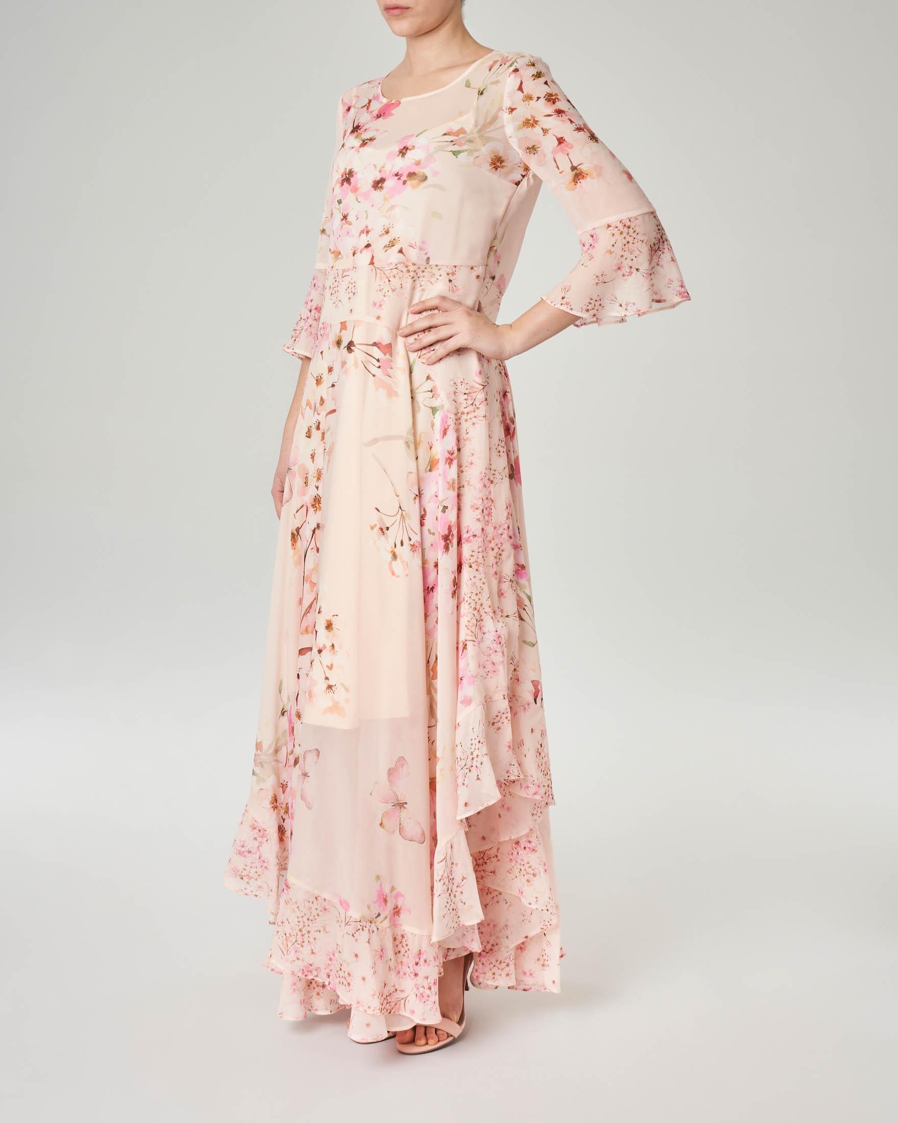 new product bb806 1df00 Abito lungo rosa in georgette a fantasia floreale