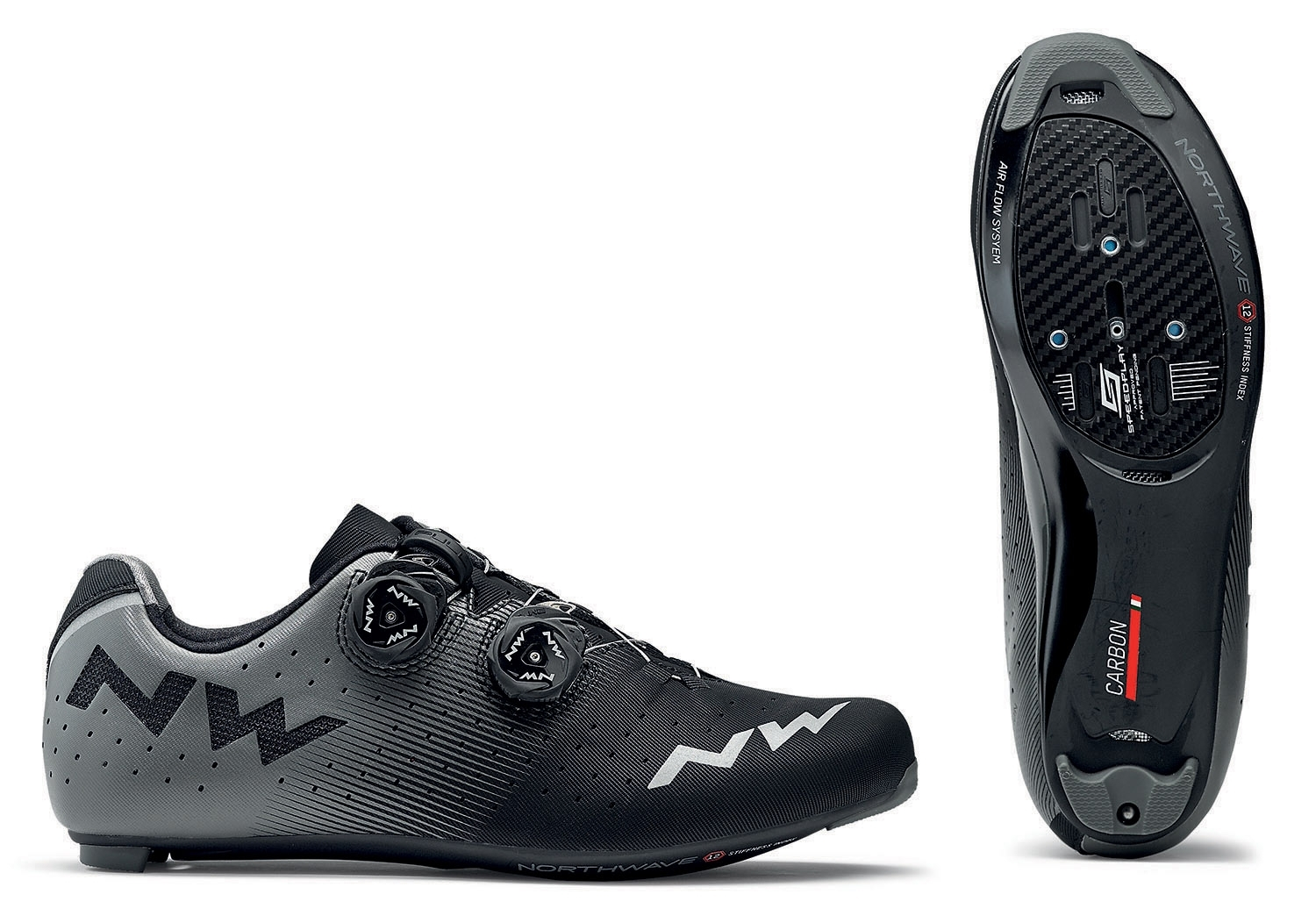 NORTHWAVE Shoes cyclism road man REVOLUTION black/gray antracite