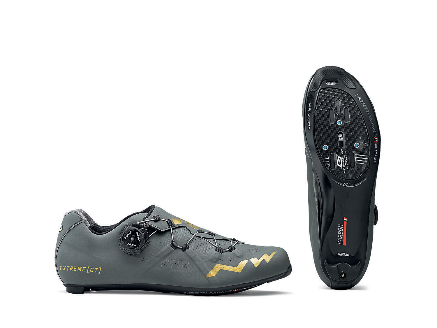 NORTHWAVE Shoes cyclism road man EXTREME GT gray antracite/gold