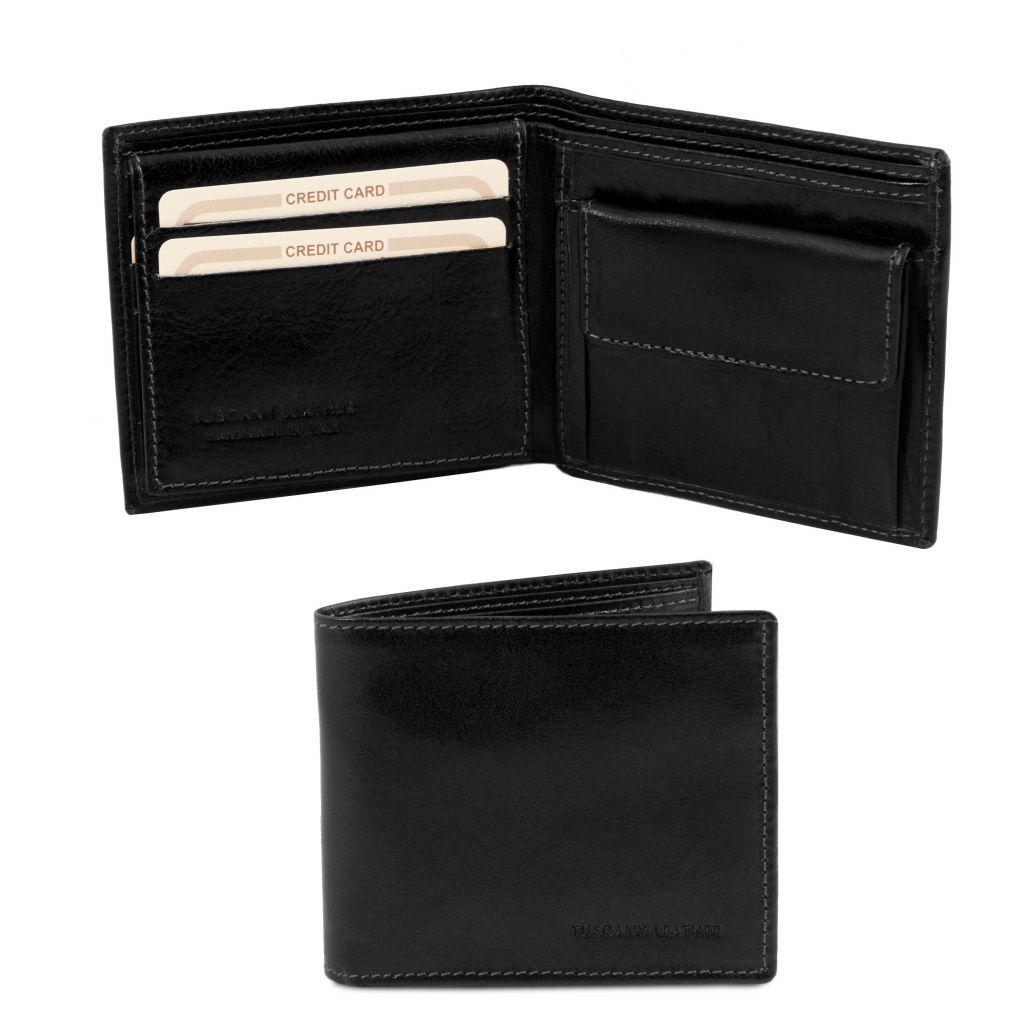 2b997222da Tuscany Leather TL141377 Esclusivo portafoglio uomo in pelle 3 ante Nero