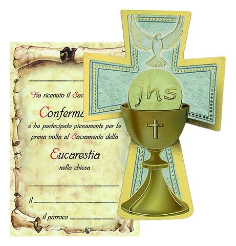 Croce legno con cartoncino ricordo Confermazione/Eucarestia