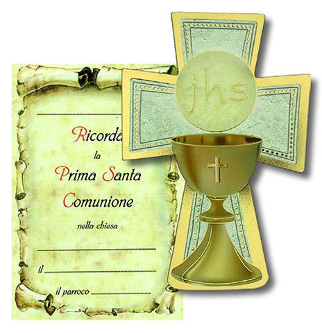 Croce legno con cartoncino ricordo Prima Comunione
