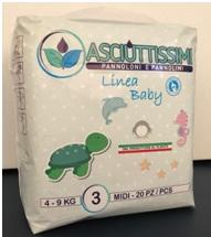 Pannolino Asciuttissimi Baby – tg. 3 (4/9kg) – Busta (20pz)