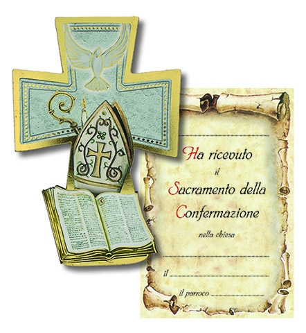 Croce legno con cartoncino ricordo Cronfermazione