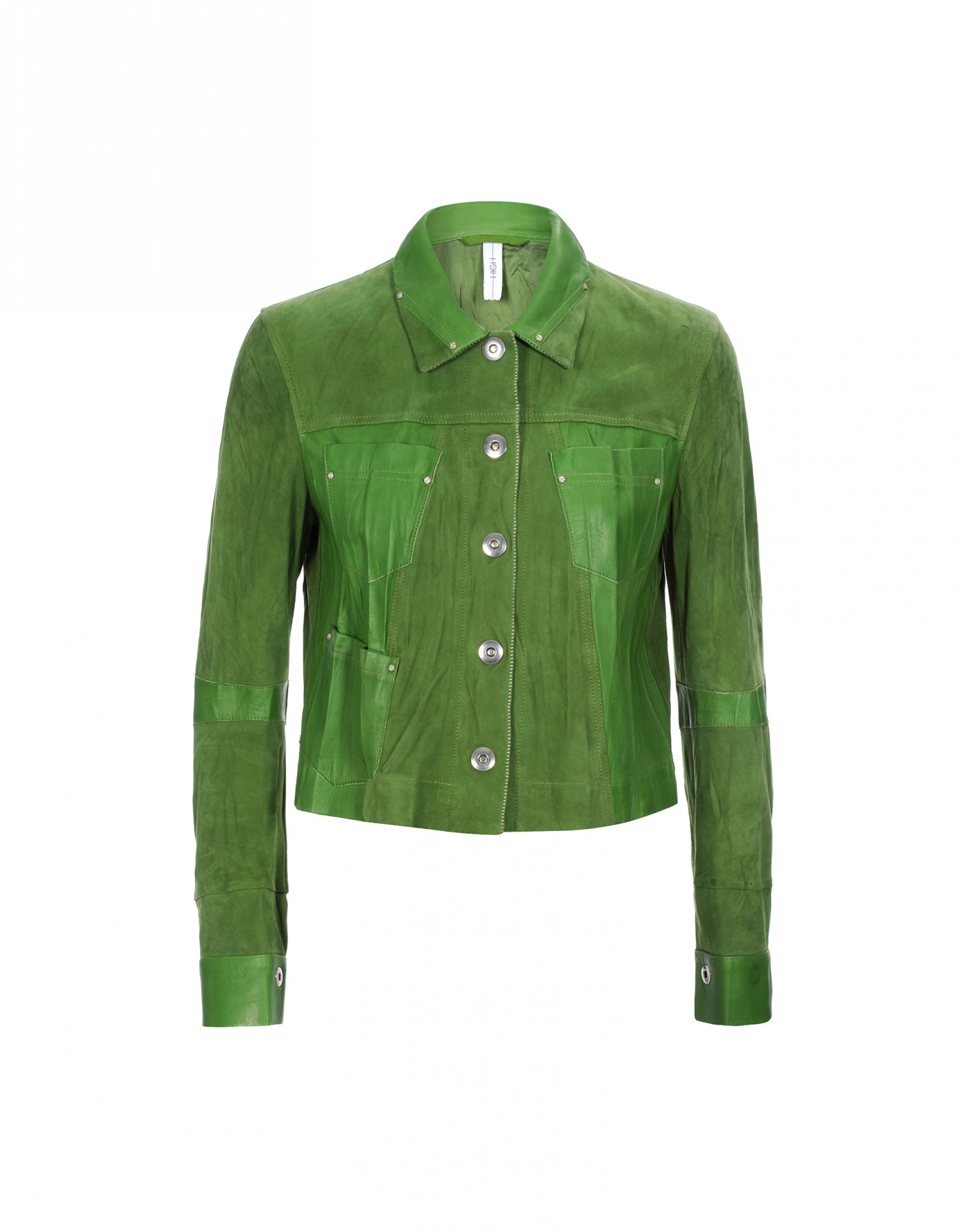 Giacca pelle donna verde high
