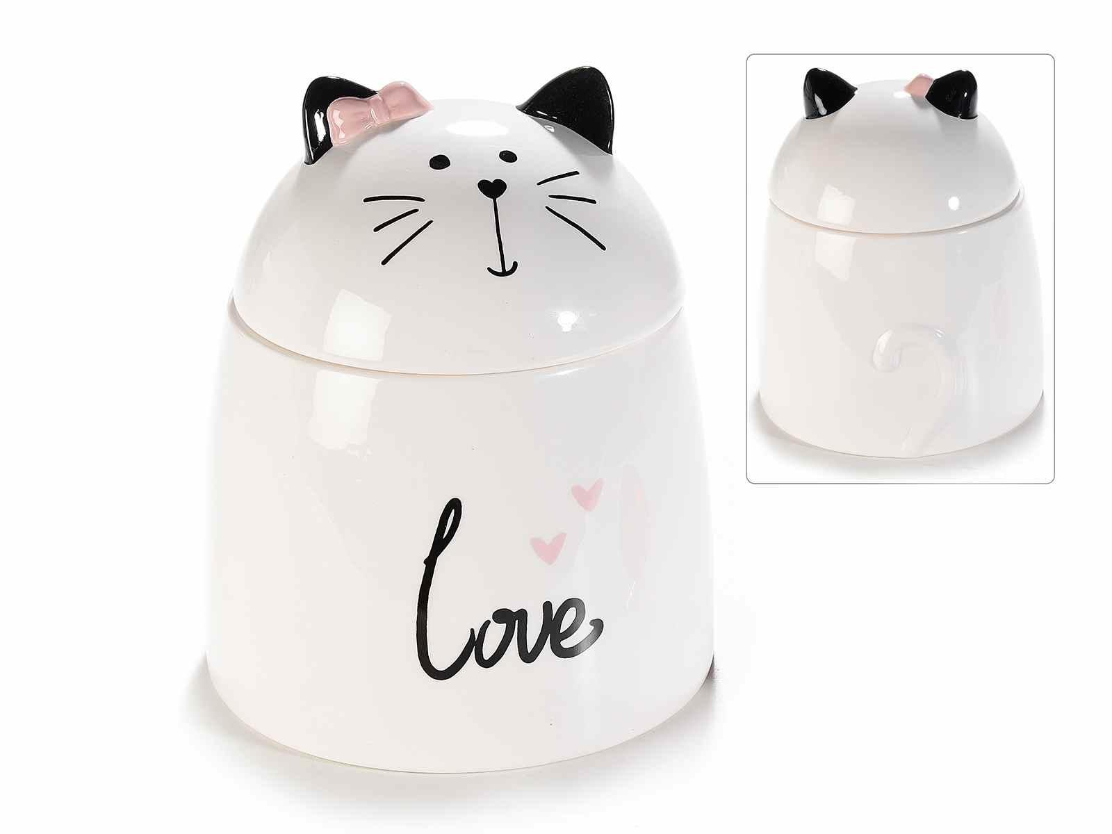Barattolo in ceramica con un Gatto sul coperchio (713728)