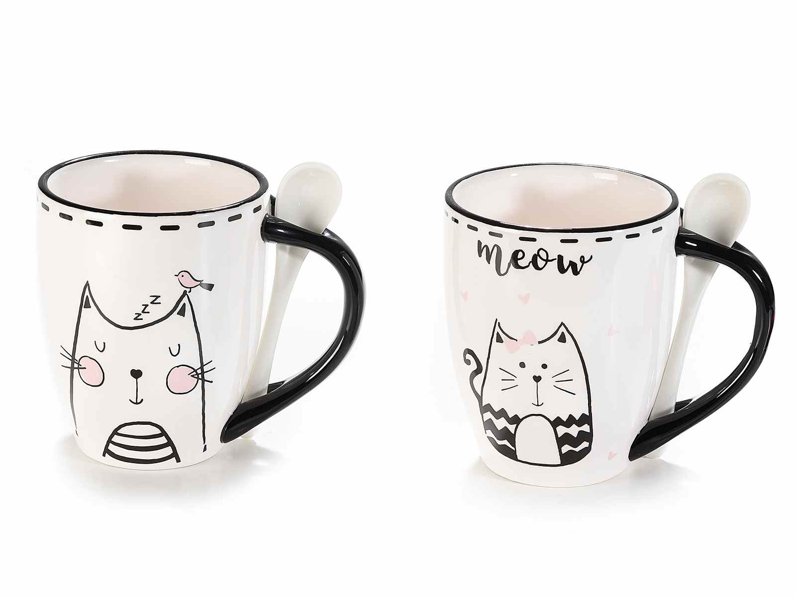 Tazza mug con cucchiaino con disegnato un gatto (713725)