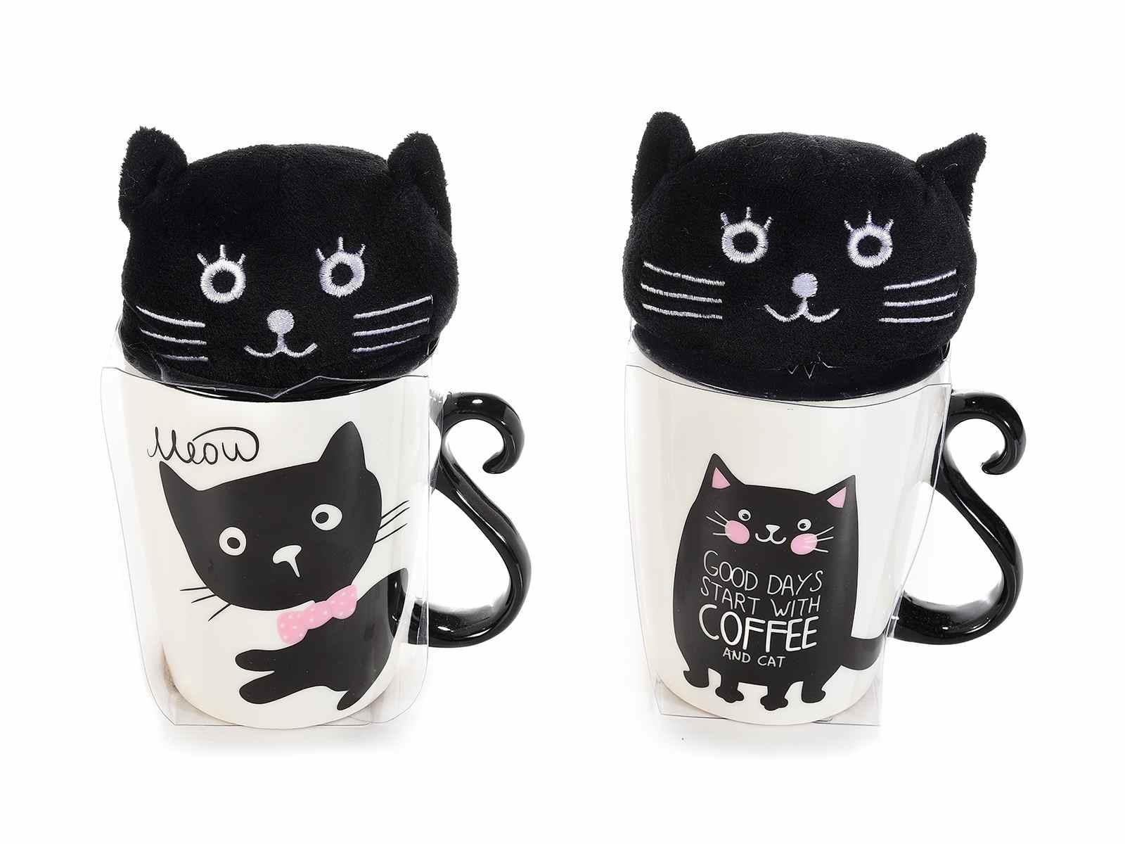 Tazza mug con disegnato un gattino e un peluche gattoso(720528)