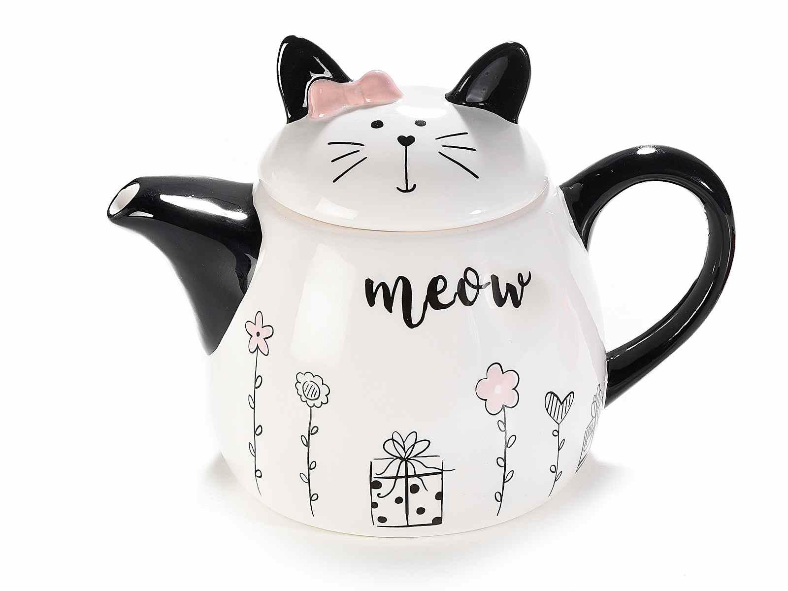 Teiera in ceramica con un gattino (713732)