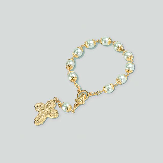 Decina rosario in vetro perlato accopigliato