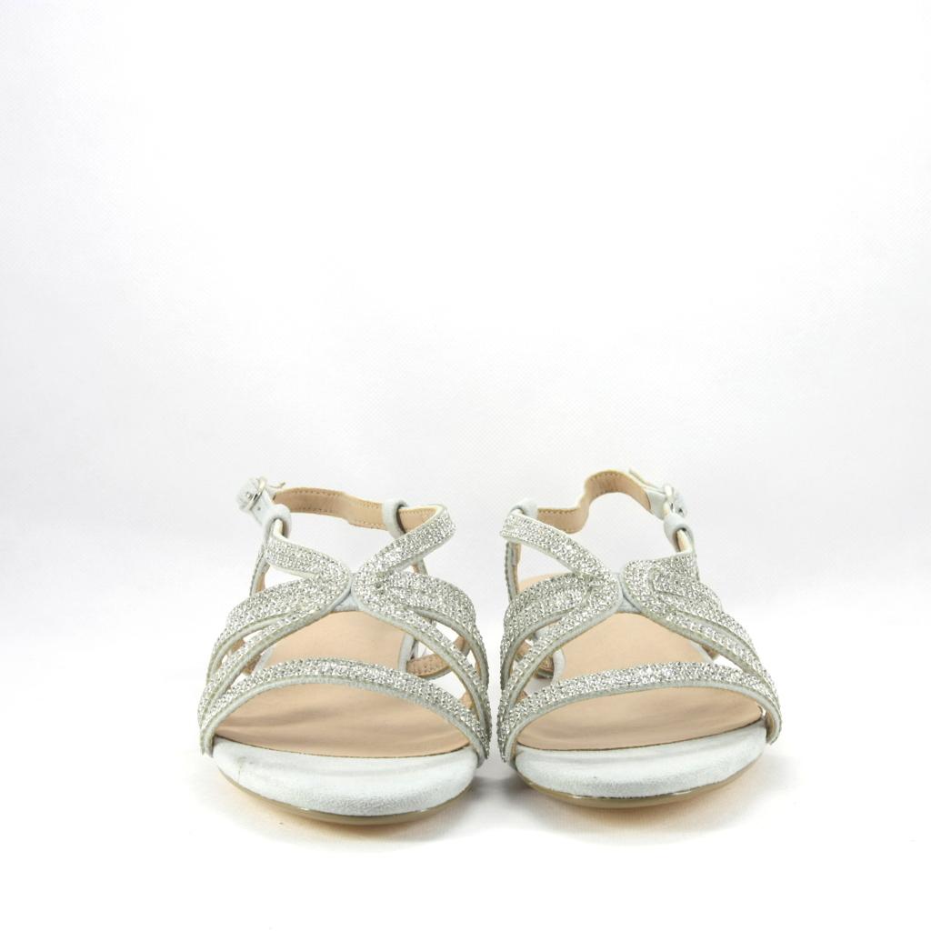Sandalo cerimonia colore grigio tutto ricoperto di strass.