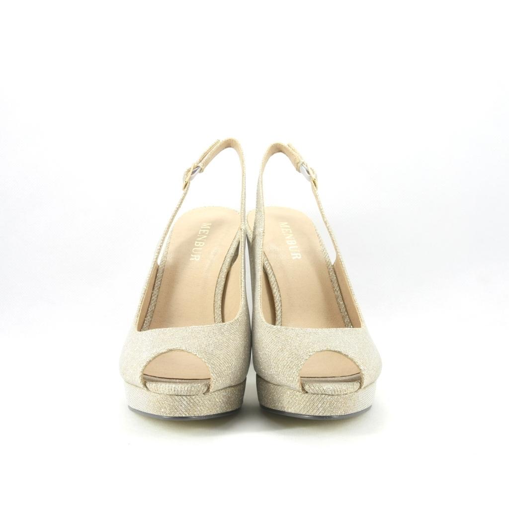 Sandalo donna in tessuto glitter luminoso con tacco largo.