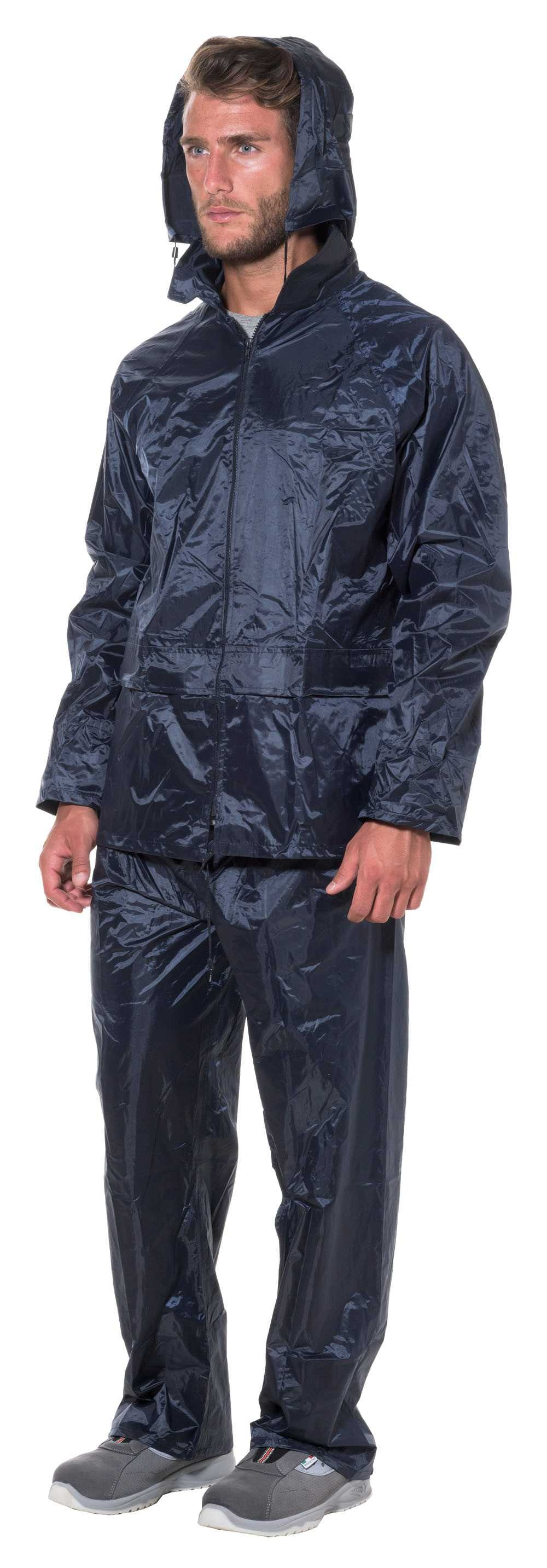 Completo impermeabile giacca pantalone antipioggia poliestere blu taglia XL