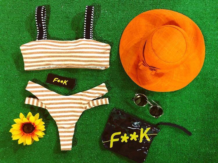 Bikini Fascia con bretelle e slip brasiliano righe giallo Effek
