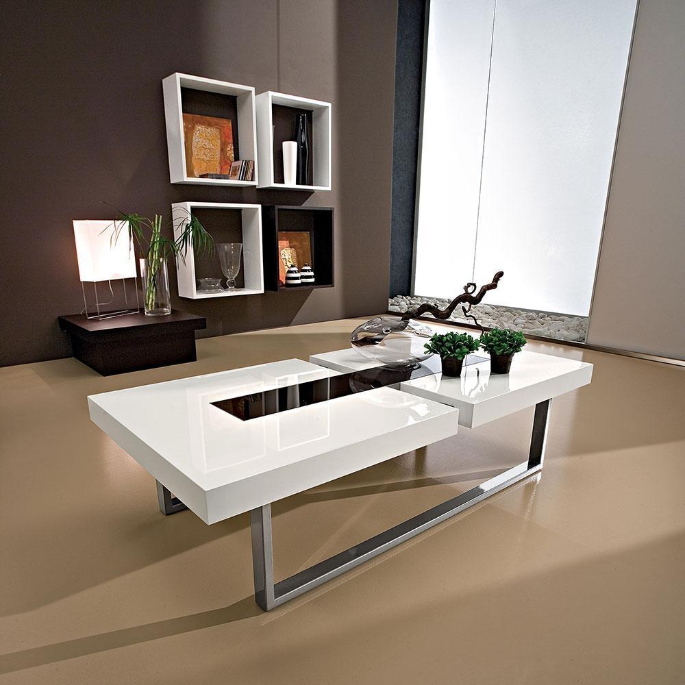 Tavolino basso da salotto in legno bianco lucido con inserto in ...