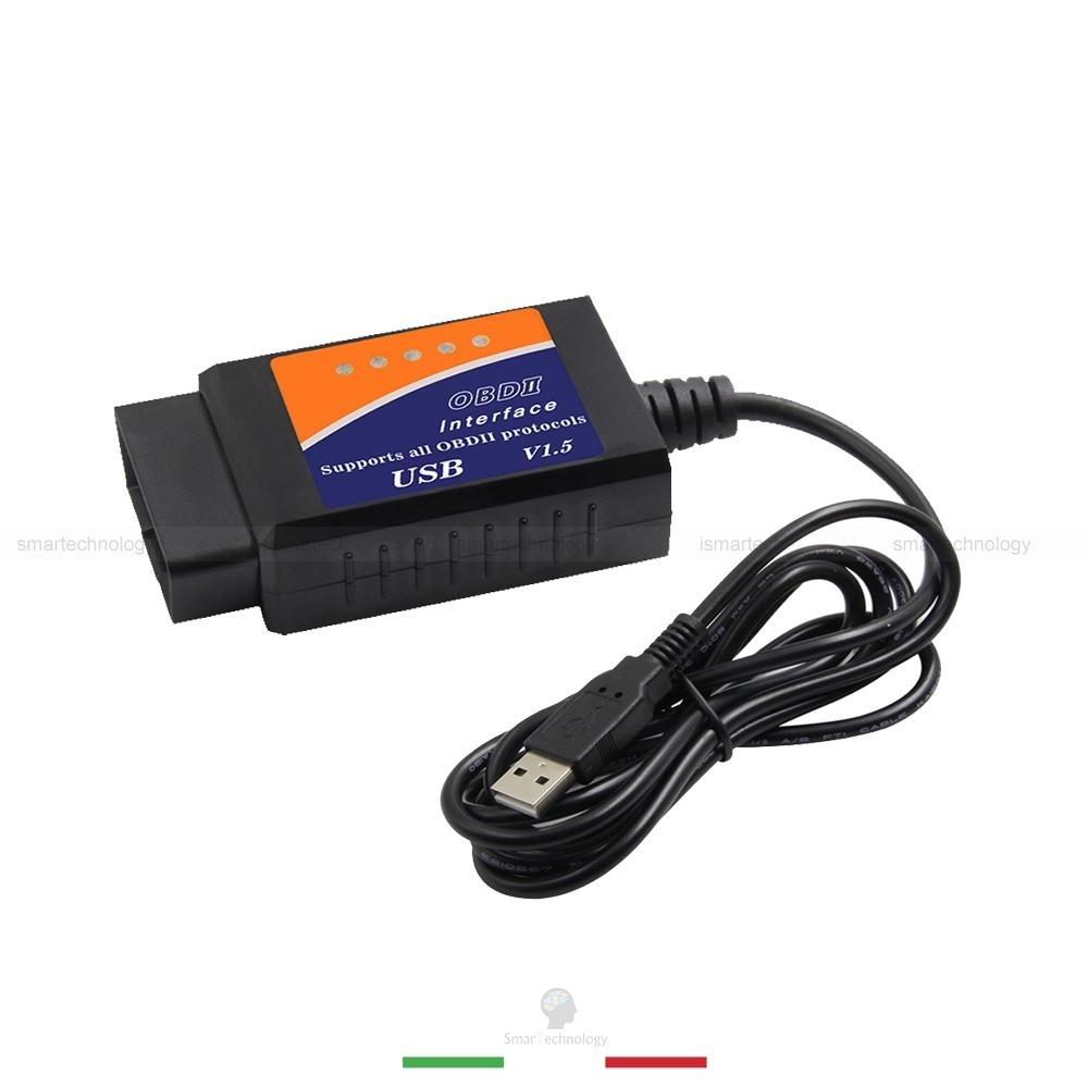 DIAGNOSI AUTO MINI ELM327 OBD2 16 PIN VERSIONE 1.5A AUTO SCANNER DIAGNOSTICA INTERFACCIA CON CAVO USB