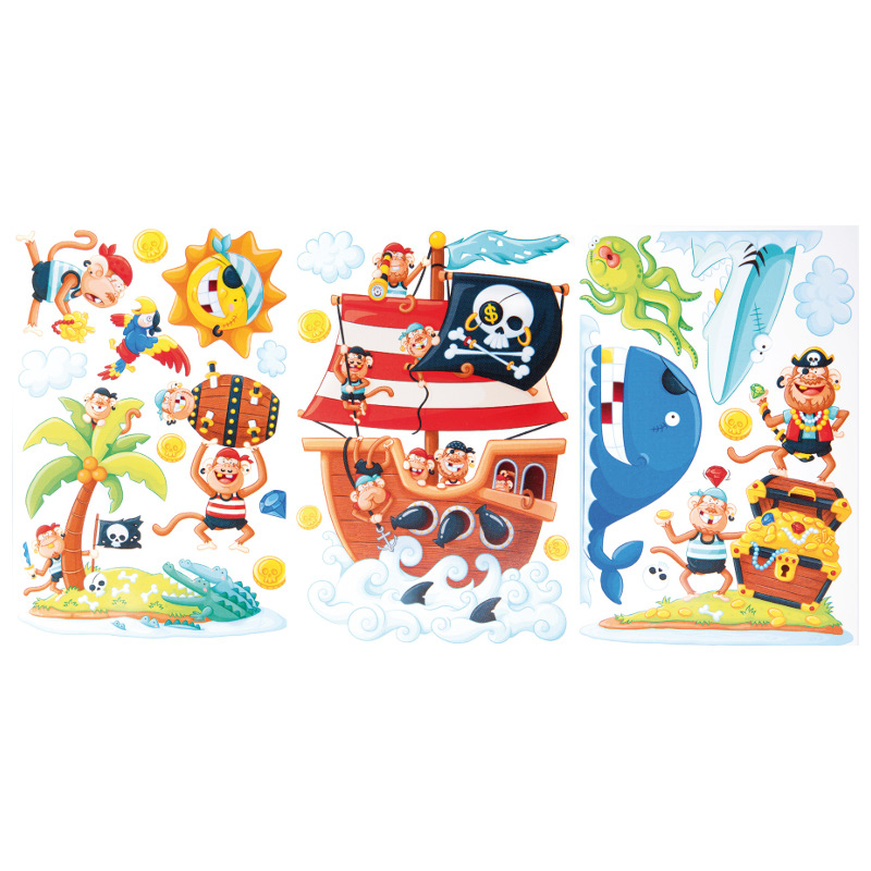 Adesivi decorazioni stickers Isola dei pirati arredo cameretta