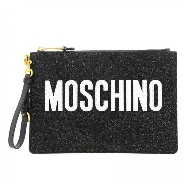 Pochette in tessuto glitter con maxi patch,Moschino.