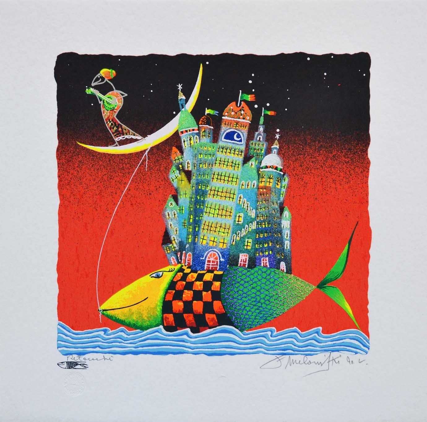 Meloniski - Pesce traslocatore - Serigrafia retouchè - Form. cm 35x35