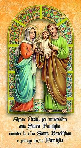 Benedizione Sacra Famiglia f.to 12x22 con dettagli oro