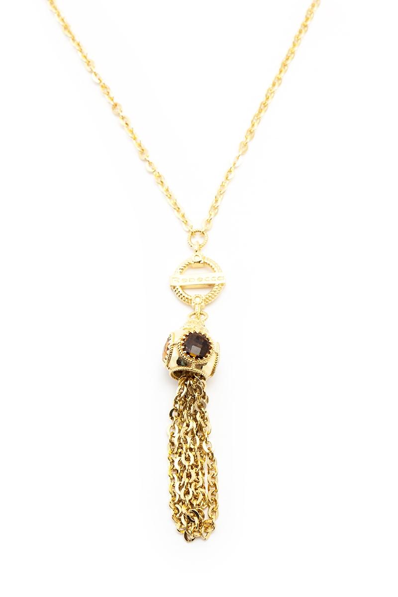 Collana della collezione REBECCA in Bronzo dorato con ciondolo e frange
