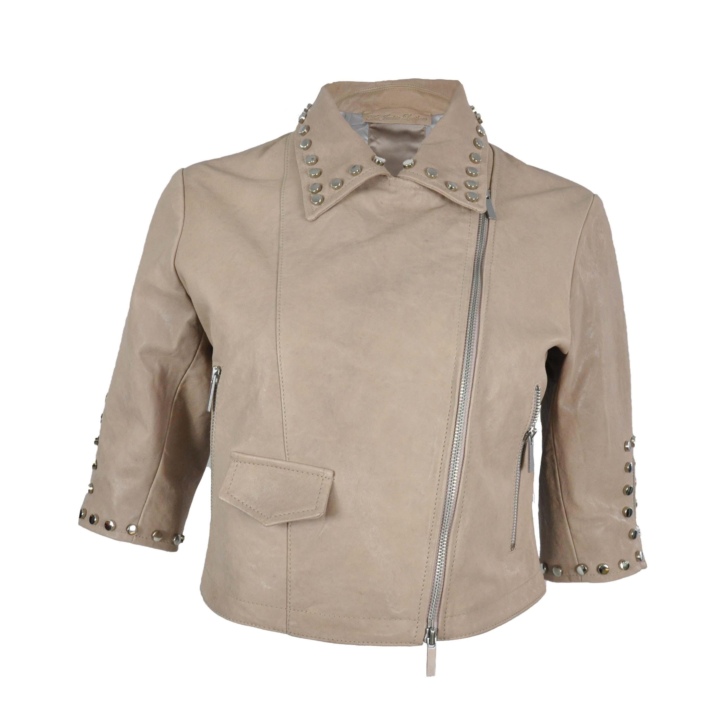 purchase cheap 28c26 18a47 Giacca di pelle con borchie modello Shelly Studs - THE ...