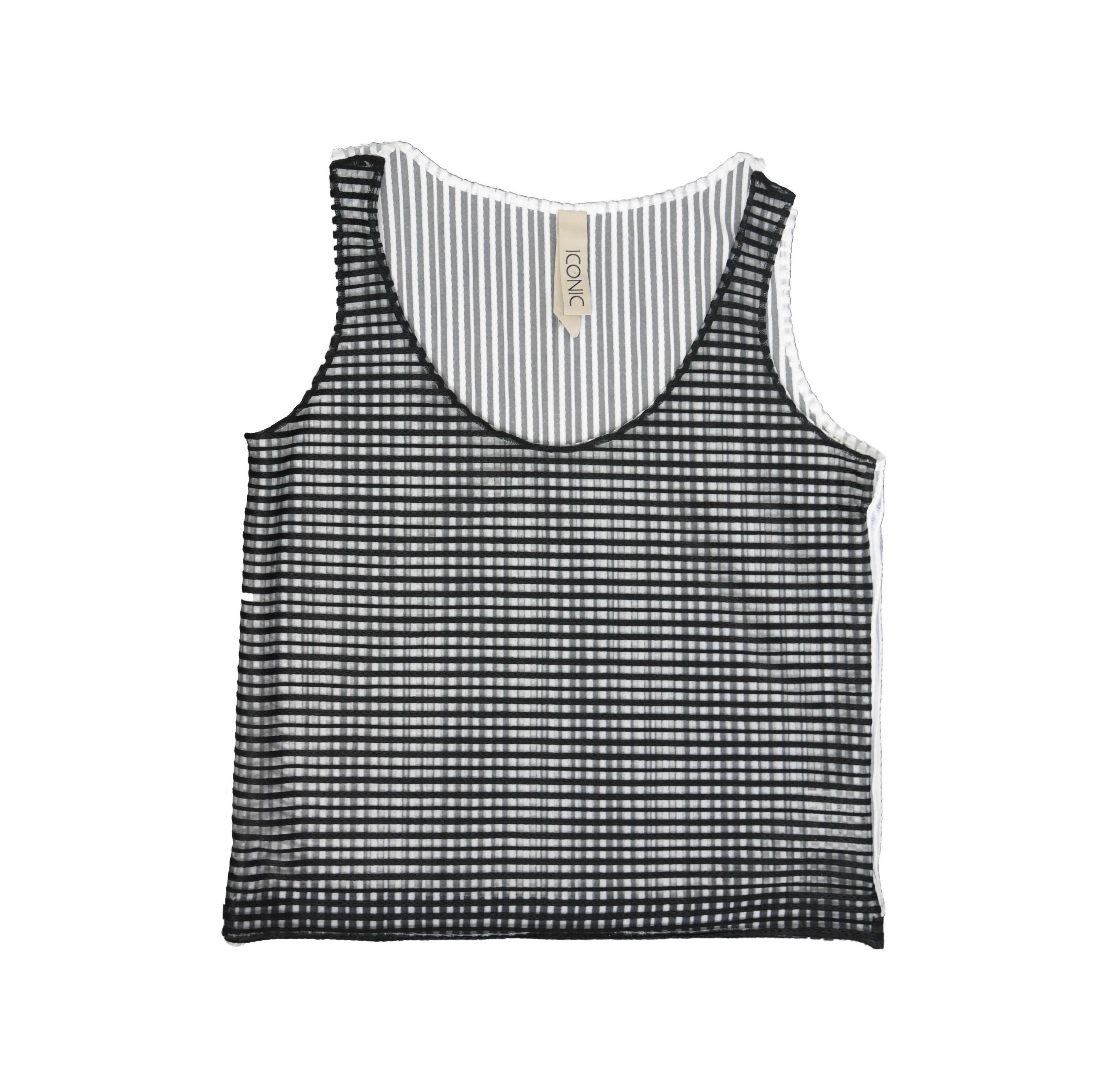 Canotta a righe black and white linea Iconic - PIANURASTUDIO