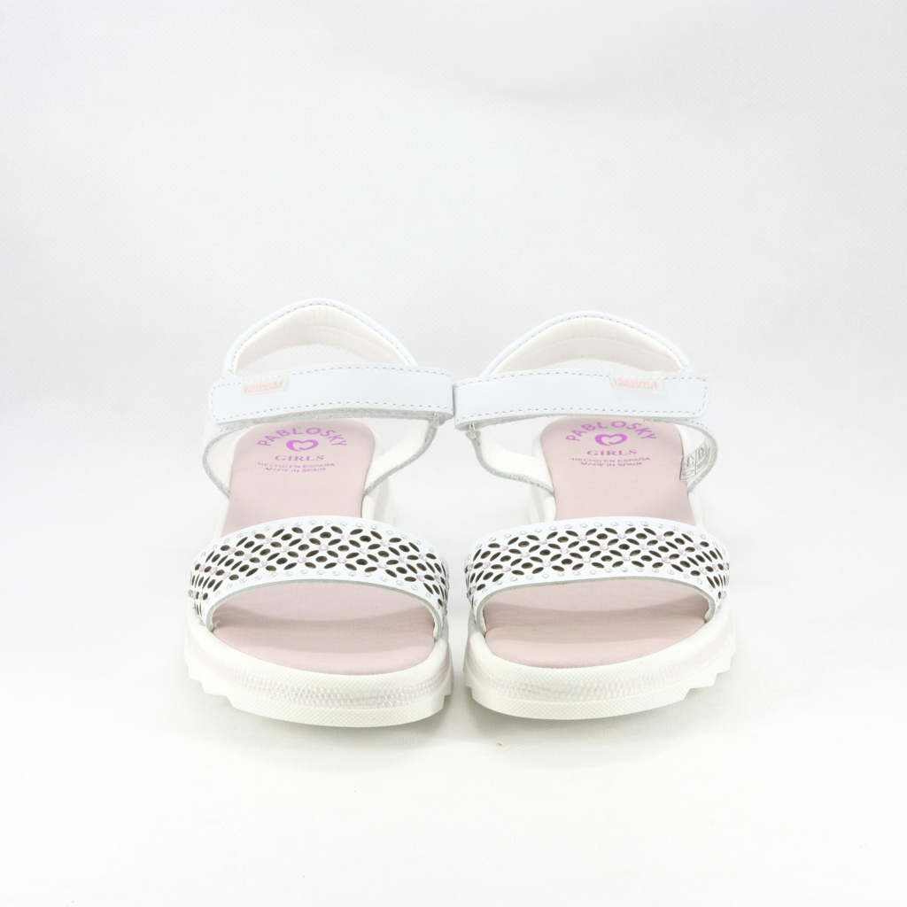Sandali eleganti bimba con chiusura velcro edecorati con cristalli.