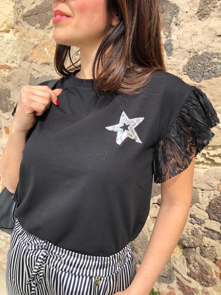 T-shirt stella con manica pizzo nero animalier Jenè