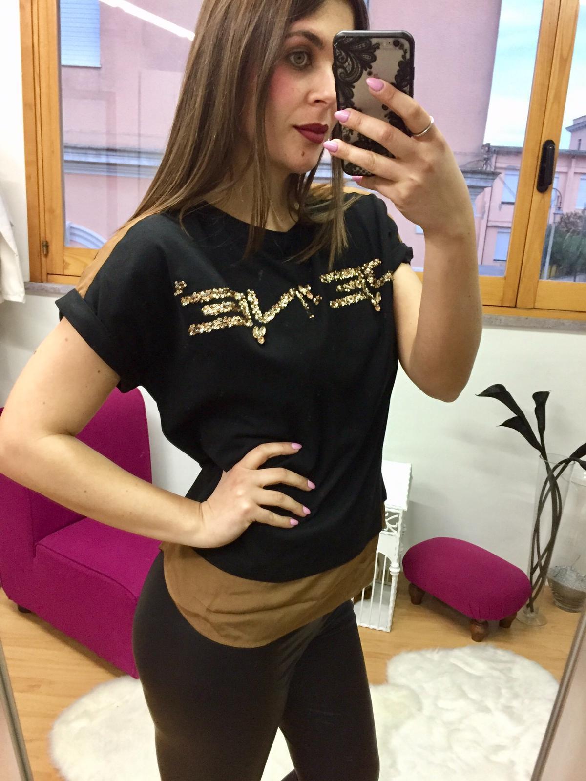 T-shirt Jenè 2 colori con strass oro