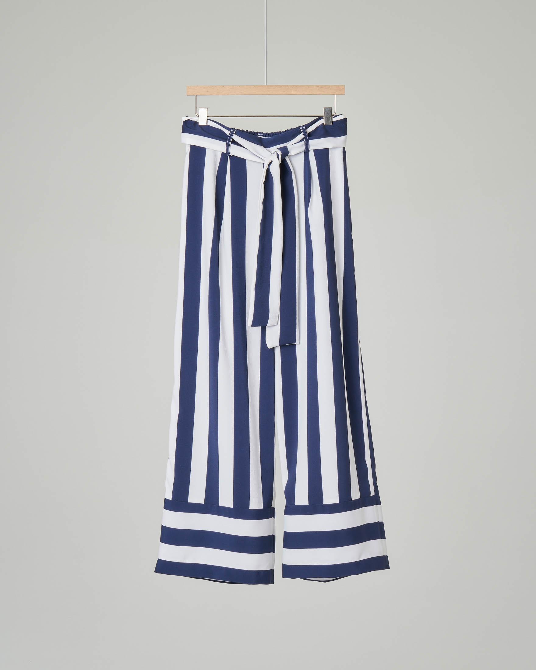 a147f205b6c2 Pantalone palazzo a riga bianca e blu taglia 36-38 | Pellizzari E ...