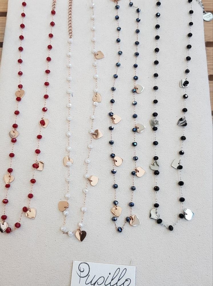 collanina acciaio cuori e perle vetro
