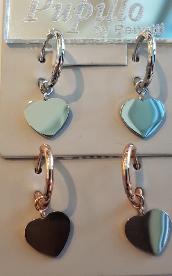 orecchino acciaio schionetta cuore