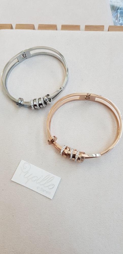 bracciale acciaio dischetti strass sz892
