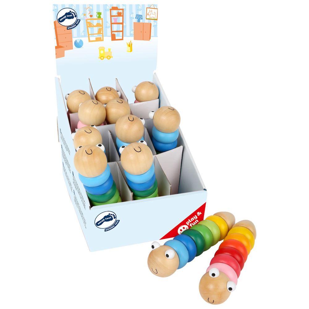 Display espositore Bruco da costruzione in legno gioco bambini Set 12 pezzi