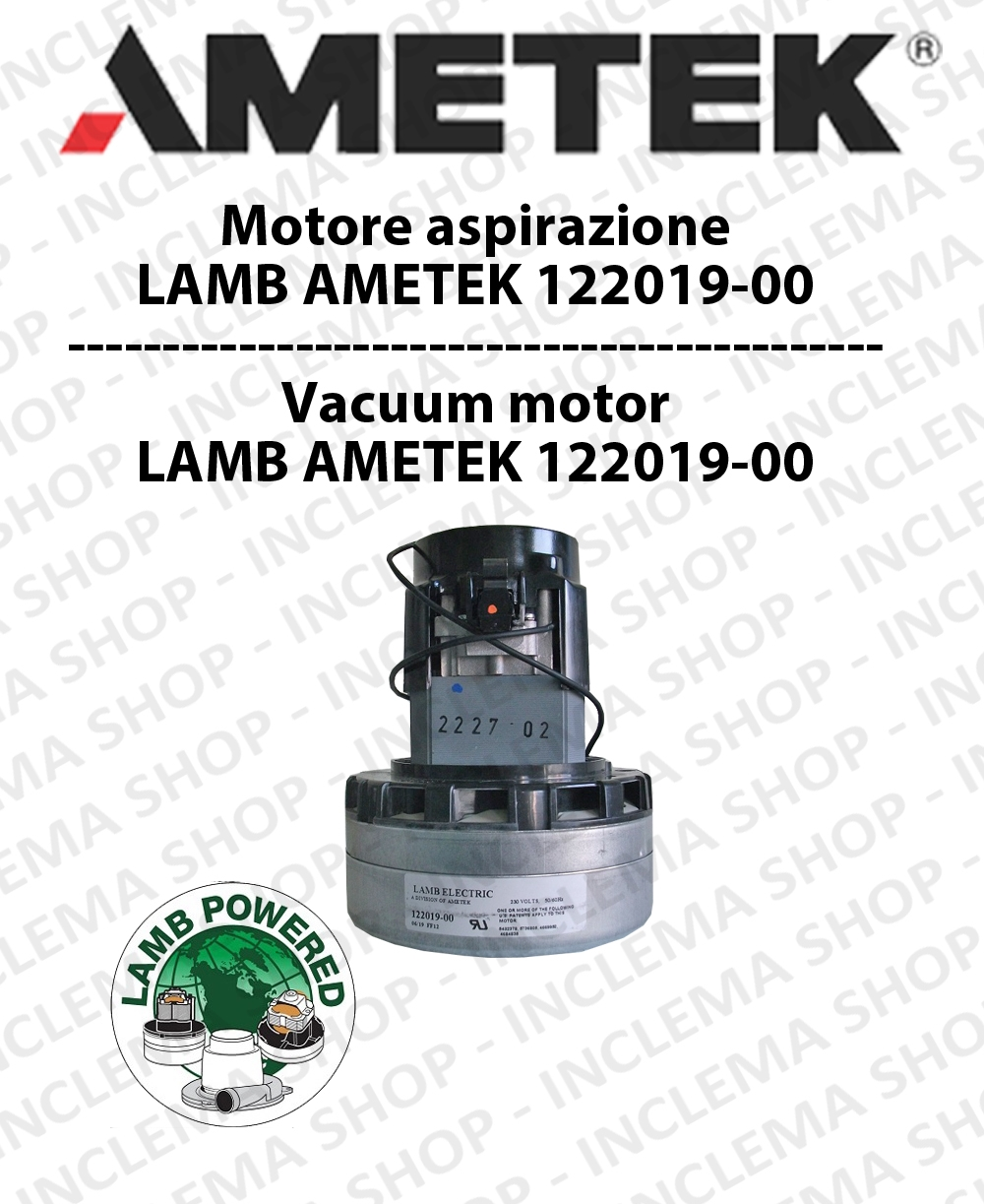 Vacuum motor 122019-00 AMETEK for scrubber dryer and vacuum cleaner