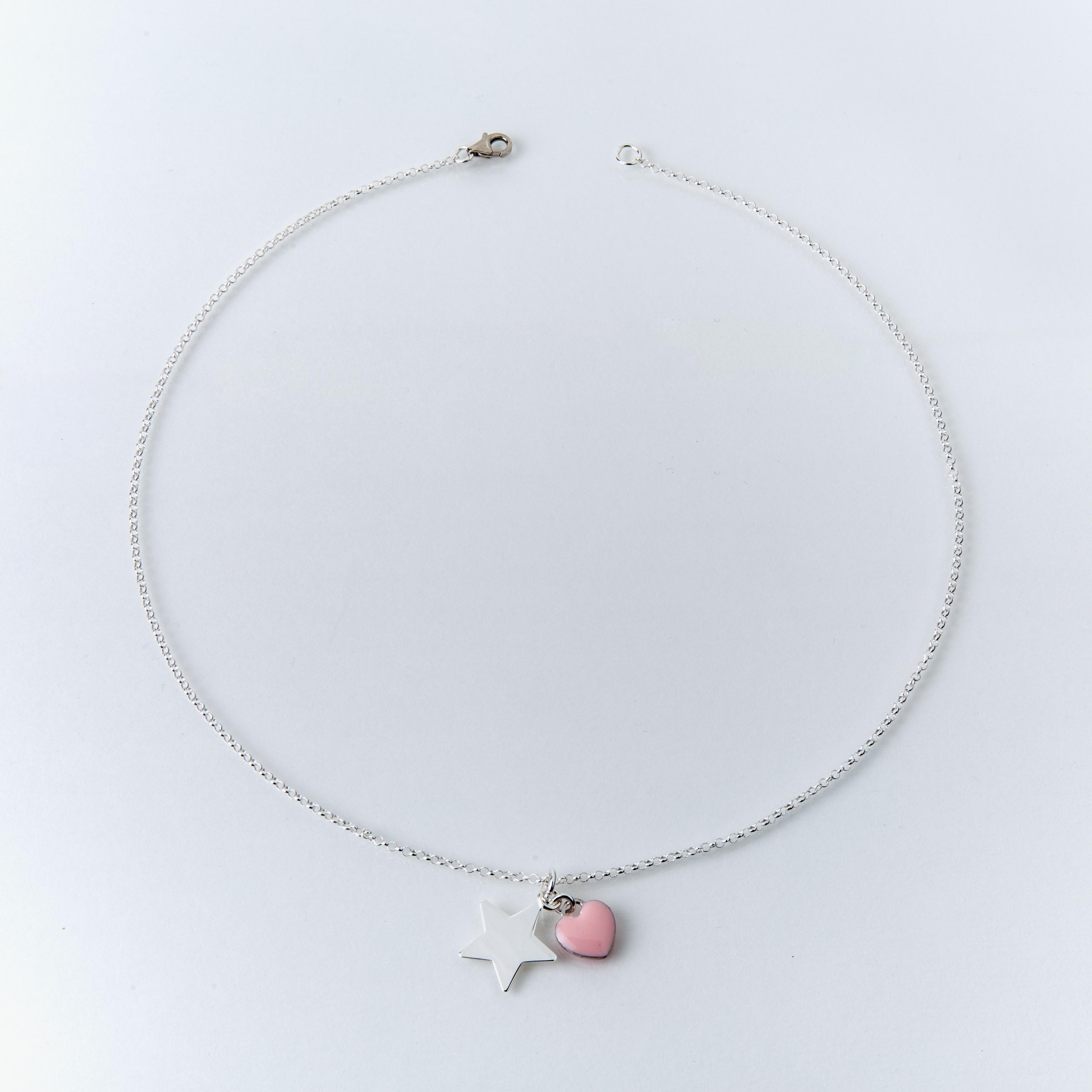 Collana girocollo in argento 925% cuore smaltato e stella
