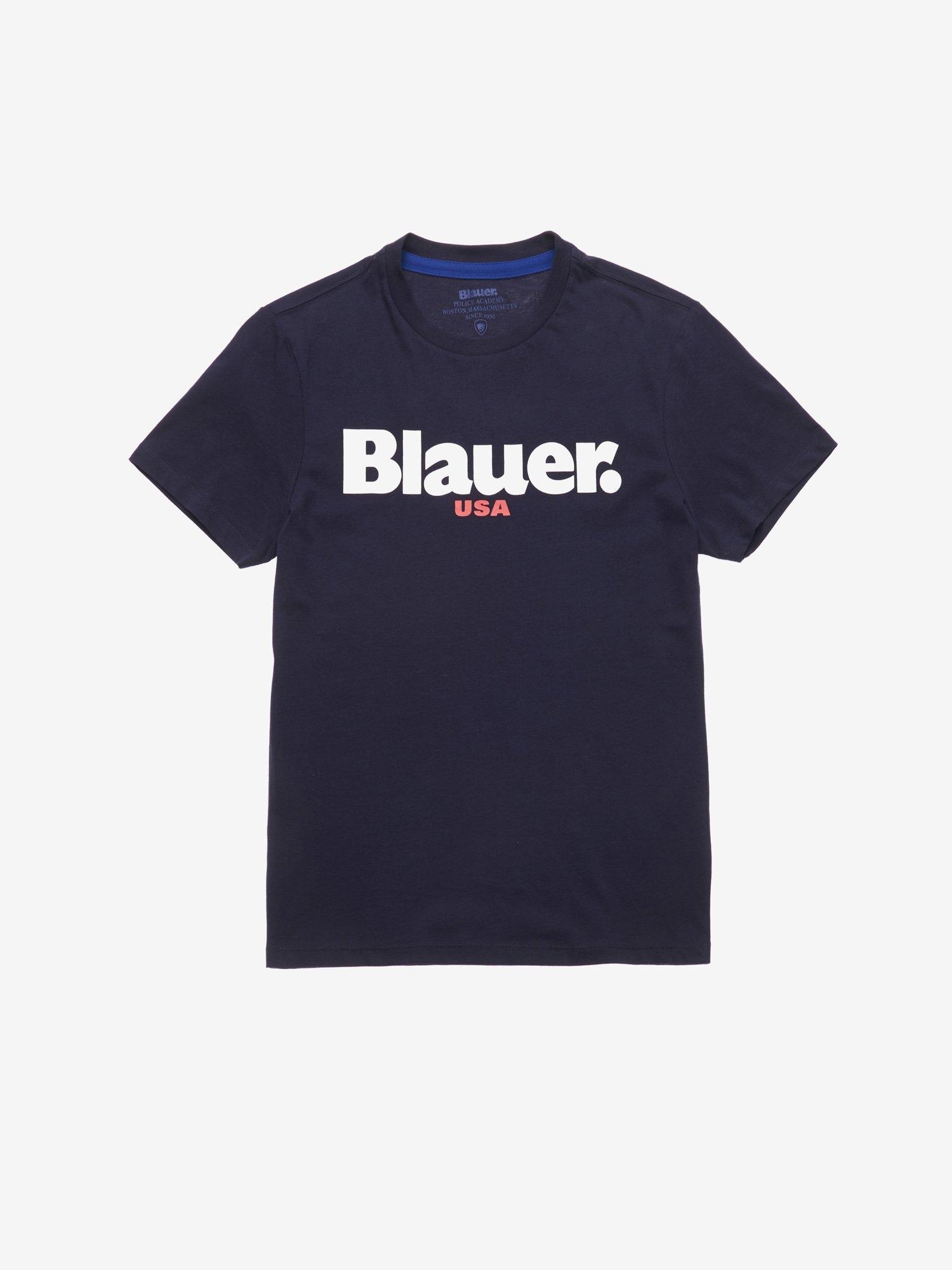 T shirt m/c in cotone con stampa blauer girocollo BLU