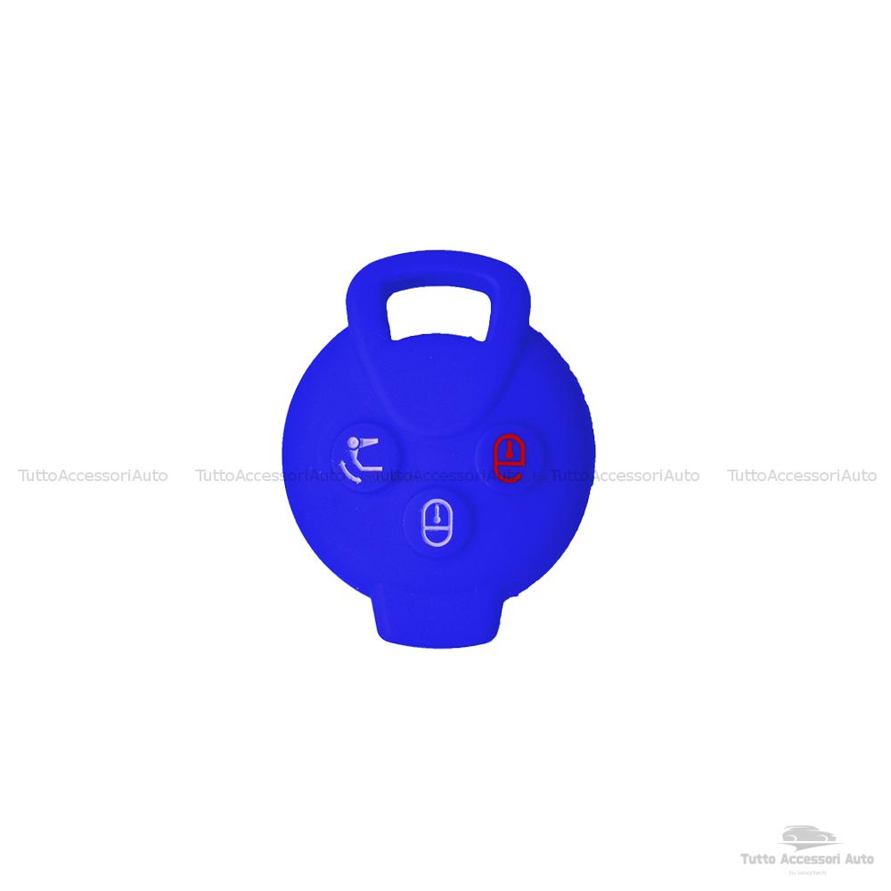 Cover Colorata Protettiva In Silicone Morbido Per Scocca Guscio Chiave 3 Tasti Pieghevole Auto Smart Fortwo 451 Forfour Roadster Copertura Del Telecomando Disponibile In Vari Colori (Blu)