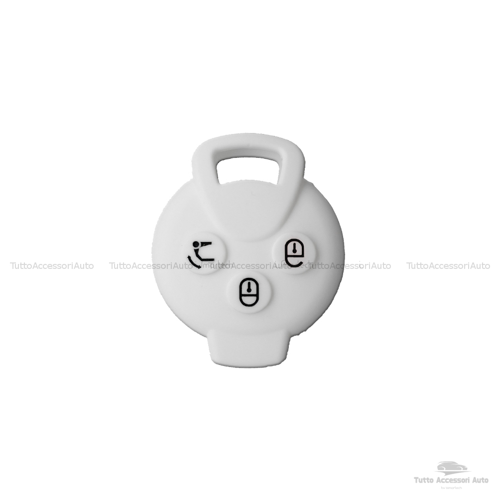Cover Colorata Protettiva In Silicone Morbido Per Scocca Guscio Chiave 3 Tasti Pieghevole Auto Smart Fortwo 451 Forfour Roadster Copertura Del Telecomando In Vari Colori (Bianco)